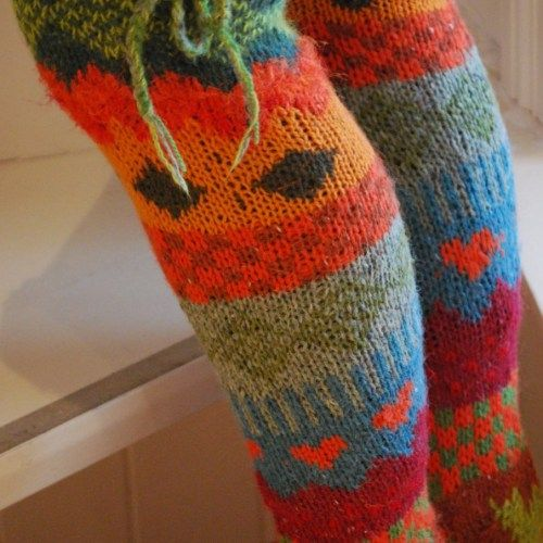 Knitted scrap yarn long socks for women