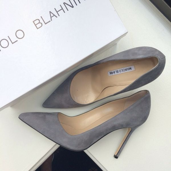 {currently in my closet — adore them!} Grey suede Manolo Blank BB pumps  |  pinterest: @Blancazh
