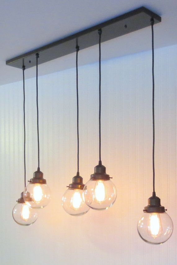 Biddeford II. CHANDELIER Light Fixture Rectangular by LampGoods - this would look good over the kitchen island.