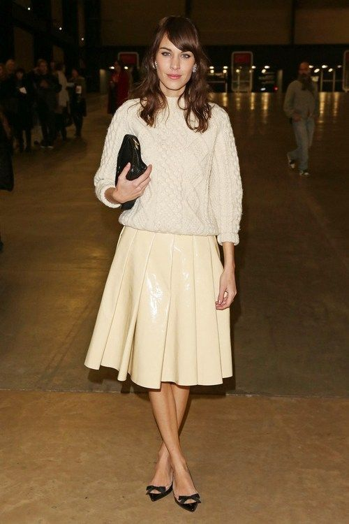 Alexa Chung at theTopshop Unique showduring LFW dressed inTopshop