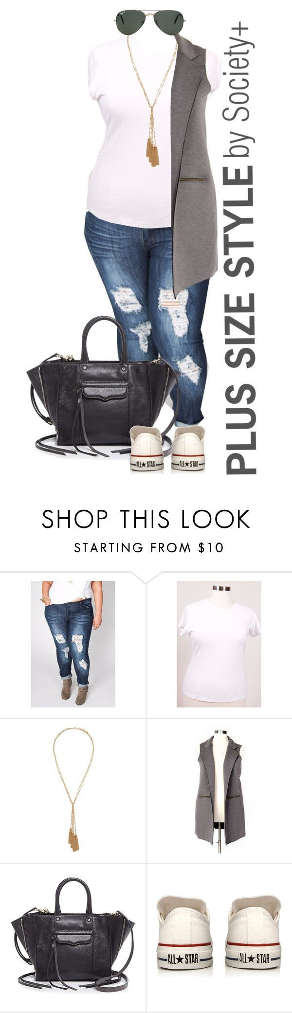 """""""Plus Size Maxi Vest - Society+"""" by iamsocietyplus on Polyvore featuring Forever 21, Rebecca Minkoff, Converse, Ray-Ban, plussize, plussizefashion, societyplus and iamsocietyplus"""