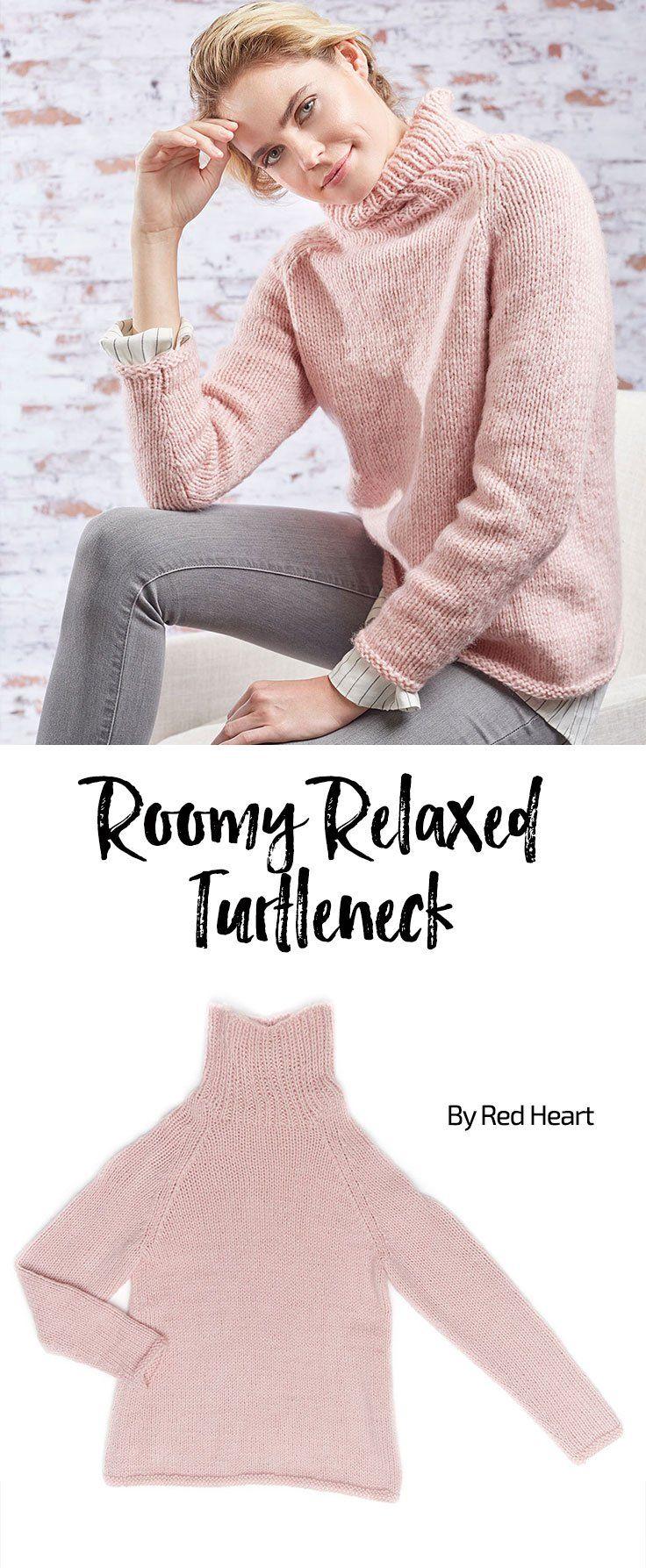 Roomy Relaxed Turtleneck free knit pattern in Dreamy yarn.