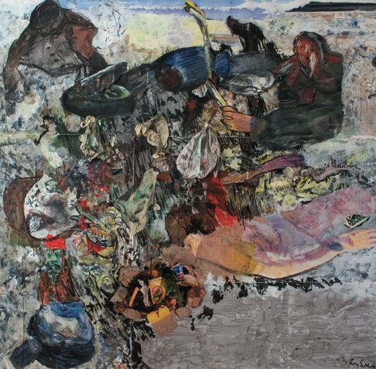 Terry Setch Work on paper, an impression of debris and collection of shipwrecked goods.