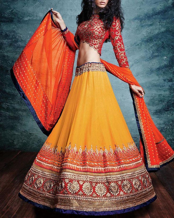 Shop Wedding Lehenga Choli in Yellow With Dupatta Online - HPSLC801