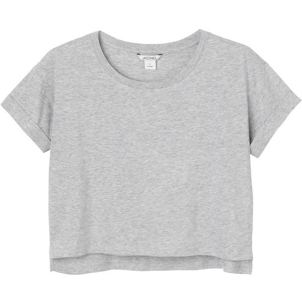 Pim tee (£7.27) ❤ liked on Polyvore featuring tops, t-shirts, grey crop top, roll top, monki, grey top and gray crop top