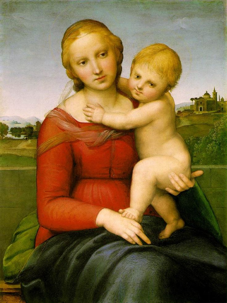 """Raphael's """"Small Cowper Madonna."""" 1505 CE. Wood. Italy. Sense of serenity. Sense of movement of the child, cloth on Virgin's substancial form. Studied under Perugino."""