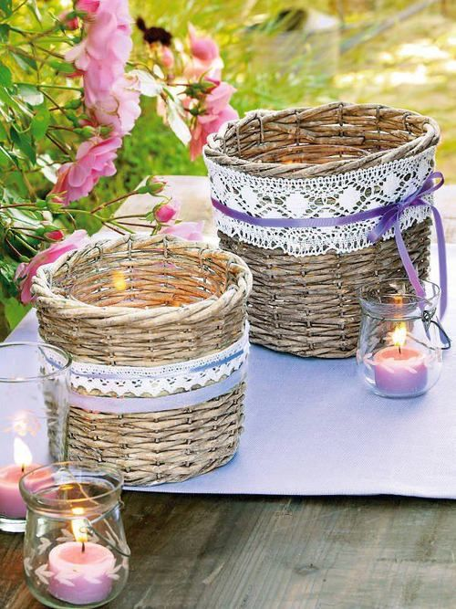 Wicker Baskets Tied With Ribbons And Trims