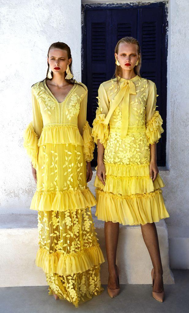 SS 1701Ruffle Sleeve V-Neck Chiffon Long Dress, Yellow SS 1702 Lace And Silk Chiffon Midi Dress, Yellow
