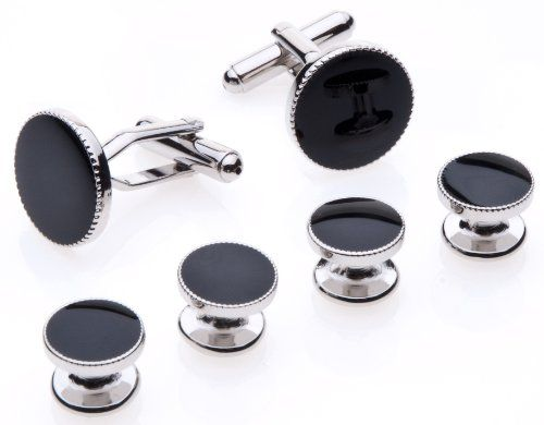 Cufflinks and Studs Set for Tuxedo – Formal Black with Shiny Silver Trimming by Men's Collections |  Read more at http://www.arifirst.com/2013/06/27/cufflinks-and-studs-set-for-tuxedo-formal-black-with-shiny-silver-trimming-by-mens-collections/