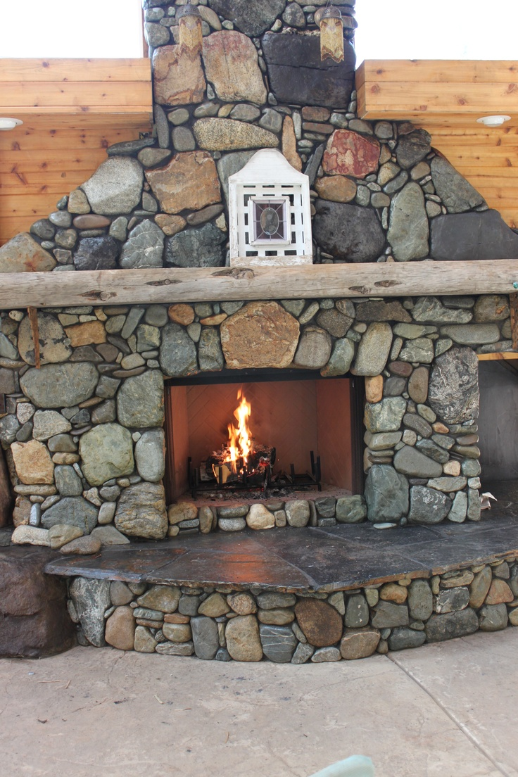 River rock fireplace pictures - Custom Built River Rock Fireplace