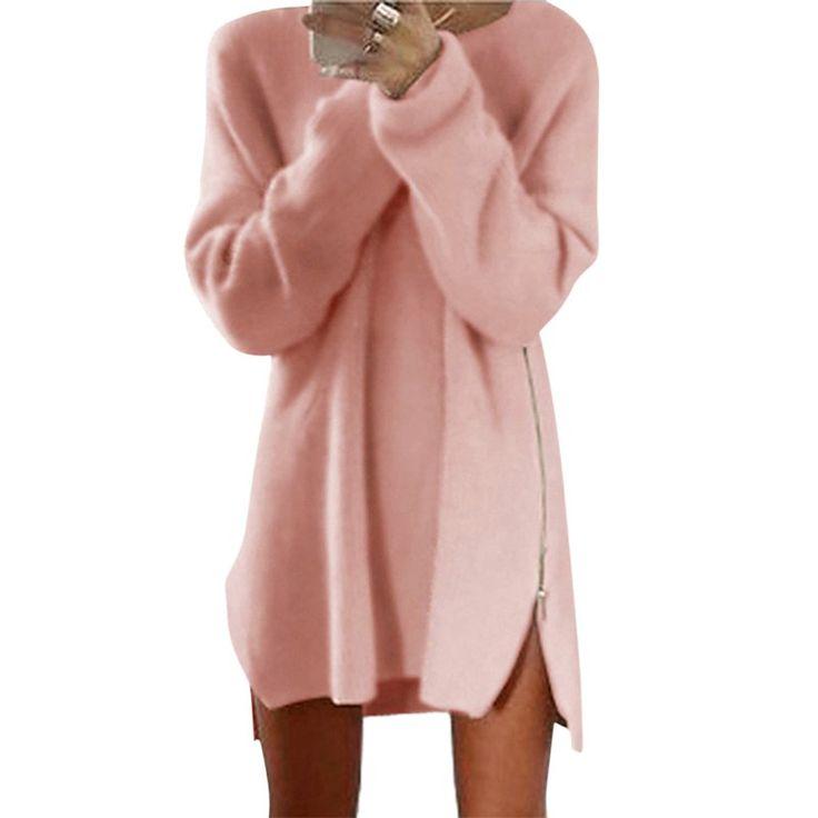 Otoño Invierno Casual Suéteres de Manga Larga de Las Mujeres Cremalleras Laterales Jumper Top Suéter de Punto Suéter de Las Mujeres Suelta Más El Tamaño de División