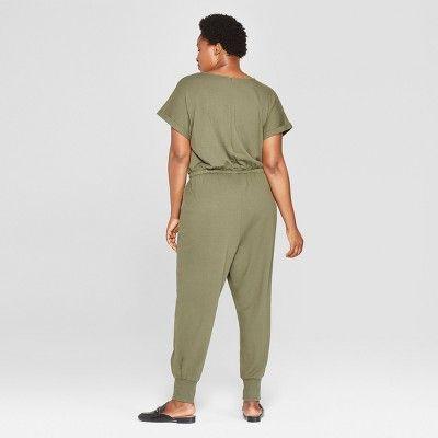 8074fe1d8ac Women s Plus Size Knit Tie Waist Jumpsuit - Ava   Viv Olive (Green ...