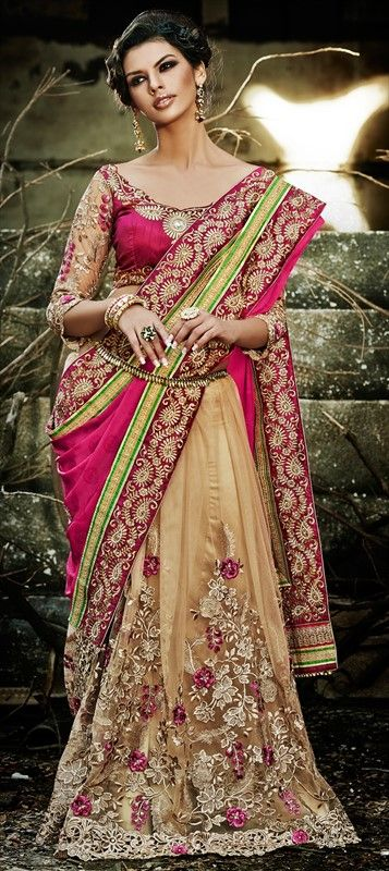 157958 Beige and Brown,Pink and Majenta  color family Embroidered Sarees,Party Wear Sarees in Jacquard,Net fabric with Border,Machine Embroidery,Resham,Thread,Zari work   with matching unstitched blouse.