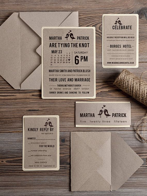 Rustic Wedding Invitation Recycling Eco by 4LOVEPolkaDots