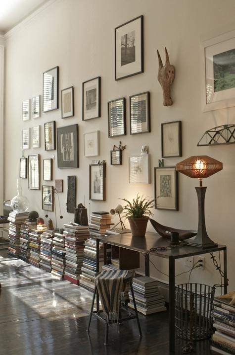 books on the floor...pictures on the wall -- happy.happy.happy!