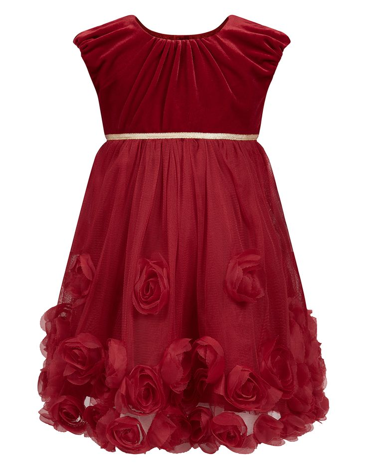 Baby Velvet Rosie Dress | Red | Monsoon