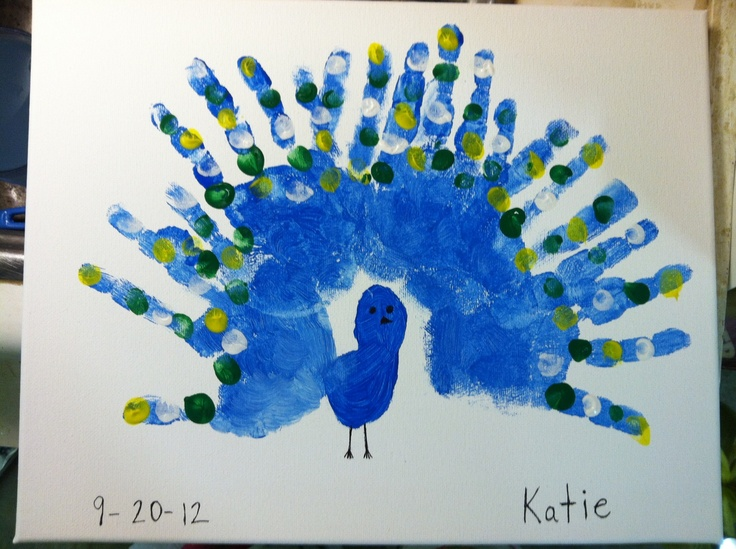 handprints making a peacock i used finger paint for easy