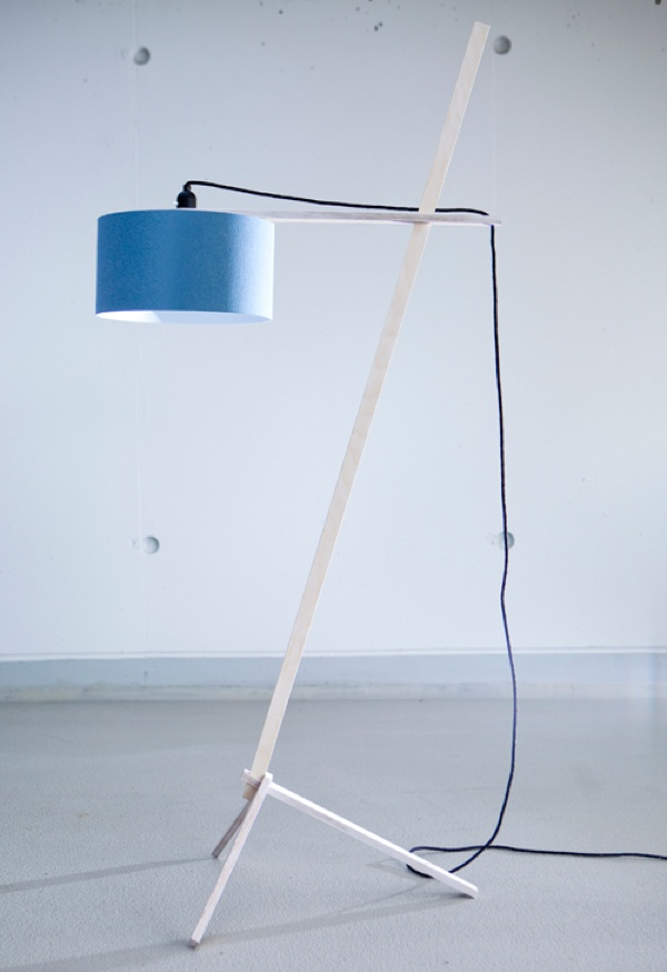floor lamp by nachacht berlin - plugged wood slats with fabric lamp shade and infinitely variable height adjustment. well, aren't you beautiful?