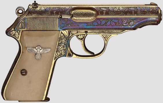 A Walther PP, ZM, honorary weapon of Oberst (Colonel) Walter Oesau, luxury model, factory-engraved, gilded, in its case . He flew over 300 air mission killed over the Eiffel in 1944.