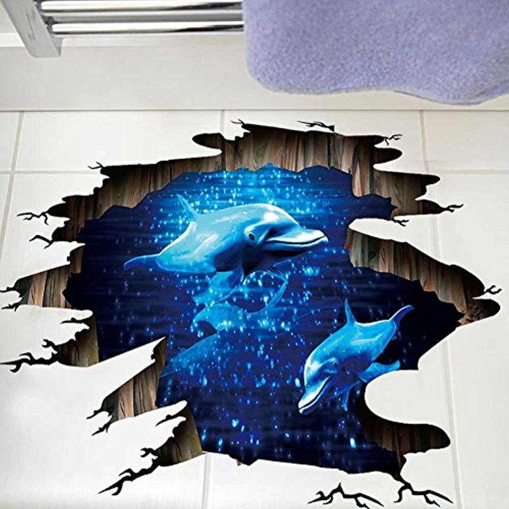 3d space galaxy wall stickers blue dolphin in the ocean on wall stickers 3d id=79023