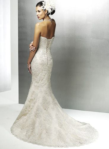 Embroidered Mermaid Wedding Dress. Love her hair and the back detail.: Wedding Dressses, Mermaids Wedding Dresses, Lace Wedding Dresses, Bridal Dresses, Strapless Wedding Dresses, Dresses Ideas, Bridal Gowns, Maggie Sottero, Lace Dresses
