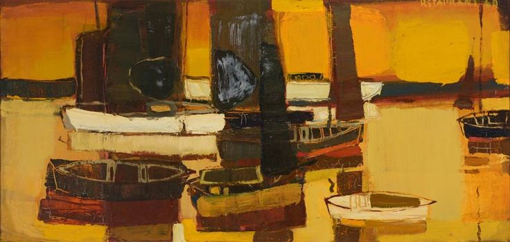 "RAIMONDS STAPRANS (Californian b. 1926) ""Yacht Harbor, Late Afternoon"" Oil on canvas #auctions #fineart #michaans #californiaart https://www.michaans.com/highlights/2017/highlights_10072017.php"