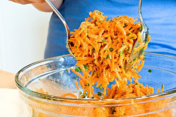 French Grated Carrot Salad.  The dressing works well on baby tomatoes, too.