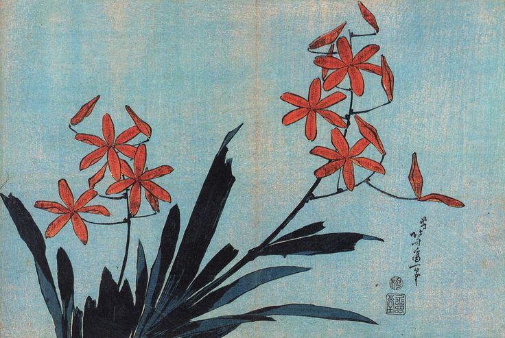 Кацусика Хокусай. Оранжевые орхидеи