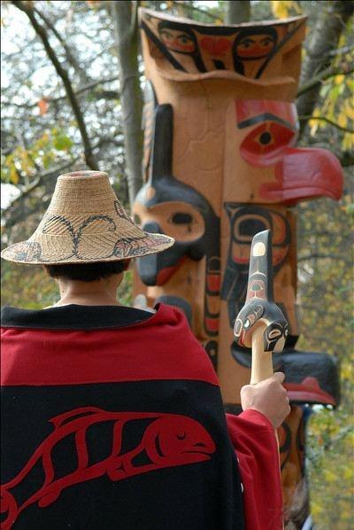 Wayne F. Hewson at Burke Musem Totem Pole Raising. October, 2007. Photo by Storm's Photographic.