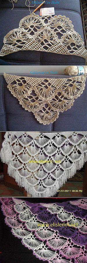 Изящная шаль на линейке| Шали, палантины и шарфы | Брумстик | Постила