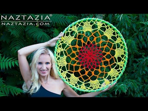 DIY Tutorial - How to Crochet Mandala Dreamcatcher - Dream Catcher Hula Hoop Yarn Bomb Bombing - YouTube