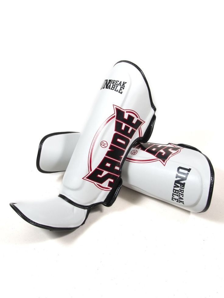 Sandee Cool-Tec Leather Shin guards - White Black & Red - Adults