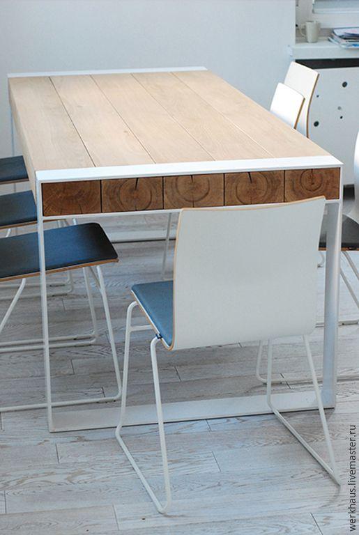 Купить Стол в эко стиле из бруса - белый, стол, обеденный стол, лофт, индастриал, эко