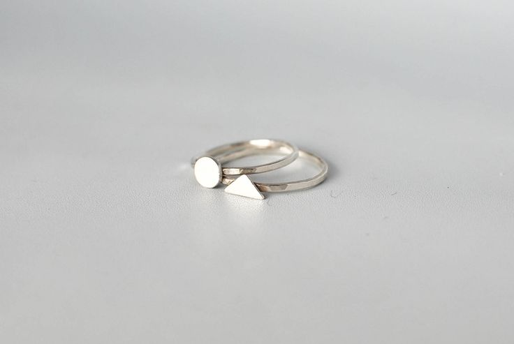 Mini Circle & Mini Triangle silver rings. Handmade silver rings created with recycled sterling silver. Minimalist silver jewelry, Swedish design.