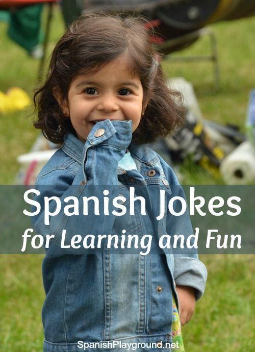 Spanish jokes including sets of easy jokes, short jokes, jokes about animals, jokes about school and more. Lots of jokes for kids learning Spanish. #spanishlessonhumor #funnyspanishlessons