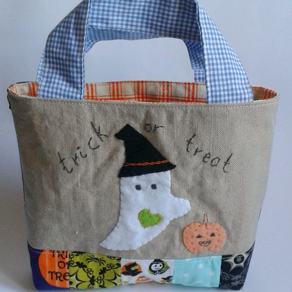 Trick or treat bag ghost hat pumpkin by roxycreations on Etsy