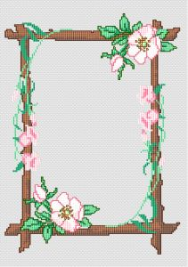 cross stitch picture frames | Cross Stitch Patterns > Borders and Bookmarks > Frame with flowers