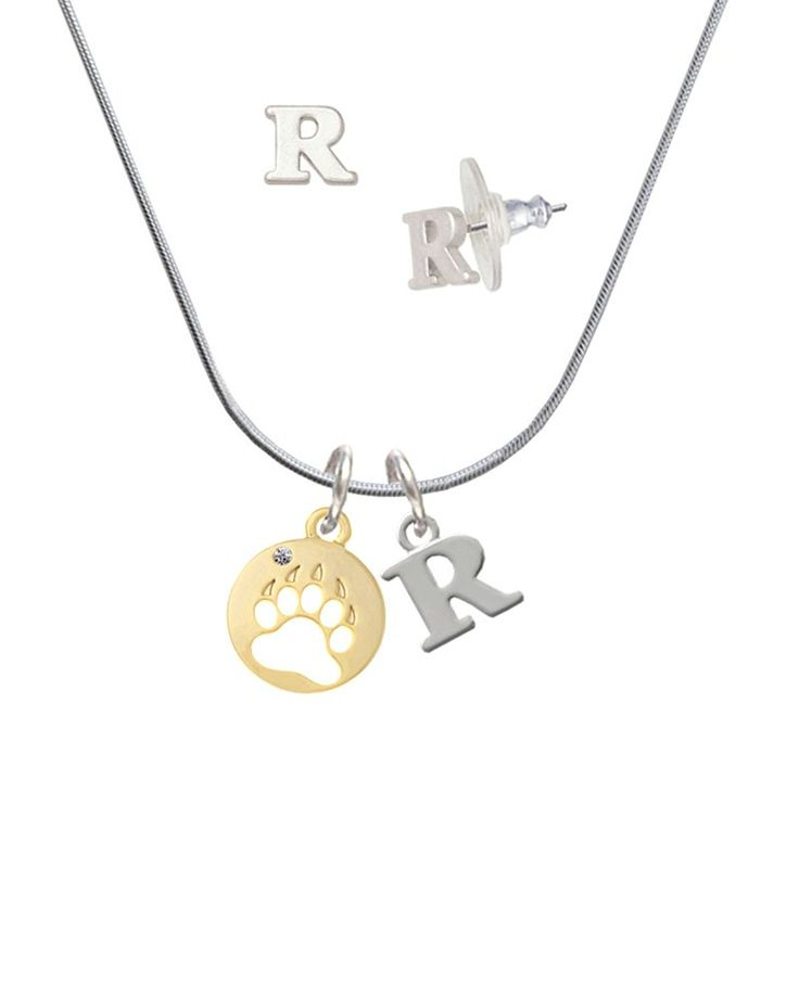 Gold Tone Bear Paw Silhouette - R Initial Charm Necklace and Stud Earrings Jewelry Set -- You can get additional details at the image link. (This is an affiliate link and I receive a commission for the sales)
