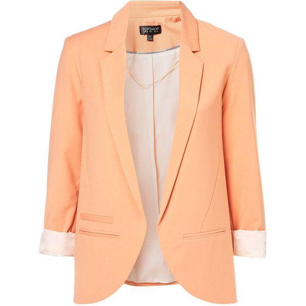 Structured Blazer found on Polyvore: Light Pink Blazers, Coral Blazers, Peaches Blazers, Bright Color, Dream Closet, Summer Blazers, Peaches Color, Topshop, Structures Blazers