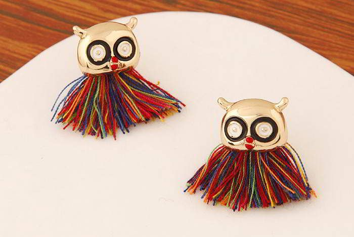Tossel Decorated Owl Shape Design Gold Color+multicolor.  Fashionable with passion REPIN if you like it.😍 Only 35 IDR
