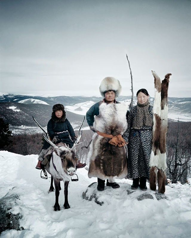 Shooting Film: 'Before They Pass Away' by Jimmy Nelson riding a reindeer like a horse snow covered mountains,