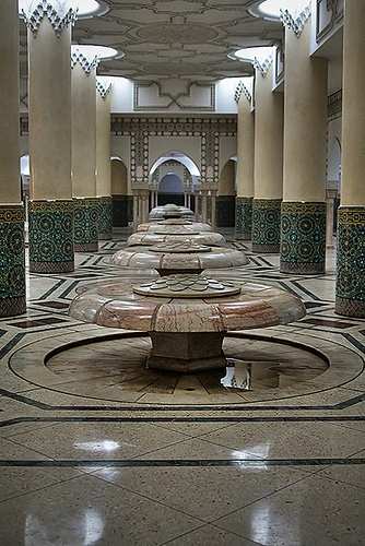 Hassan II Mosque - Ablutions room. Before Salat, a Muslim will wash according to the traditions of his faith before prayers.