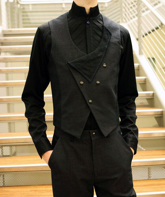 Men's Charcoal Twill & Linen Vest by TheKingOfSpades on Etsy, $125.00
