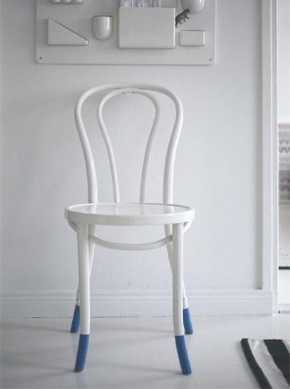 Dip dye stoel wit en blauw