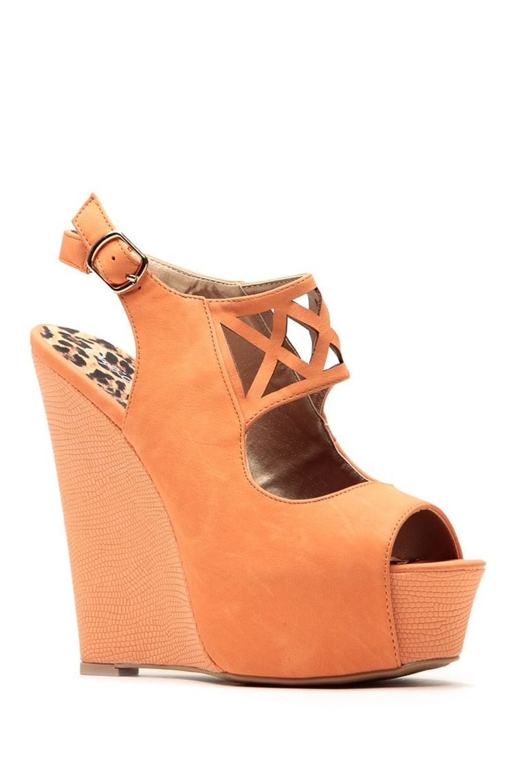 Qupid Orange Textured Cut Out Wedges @ Cicihot Wedges Shoes Store:Wedge Shoes,Wedge Boots,Wedge Heels,Wedge Sandals,Dress Shoes,Summer Shoes,Spring Shoes,Prom Shoes,Women's Wedge Shoes,Wedge Platforms Shoes,floral wedges