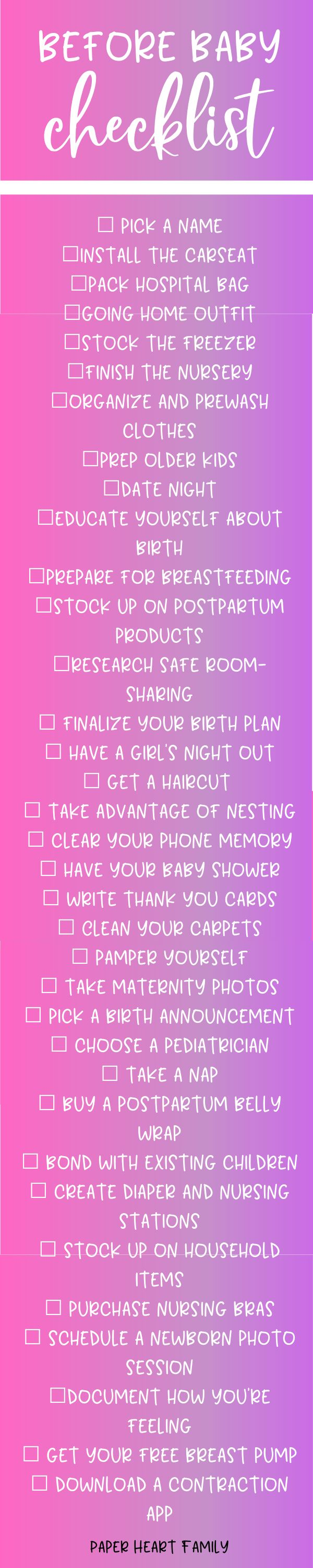 Things To Do Before Baby Arrives- Checklist Printable Included!
