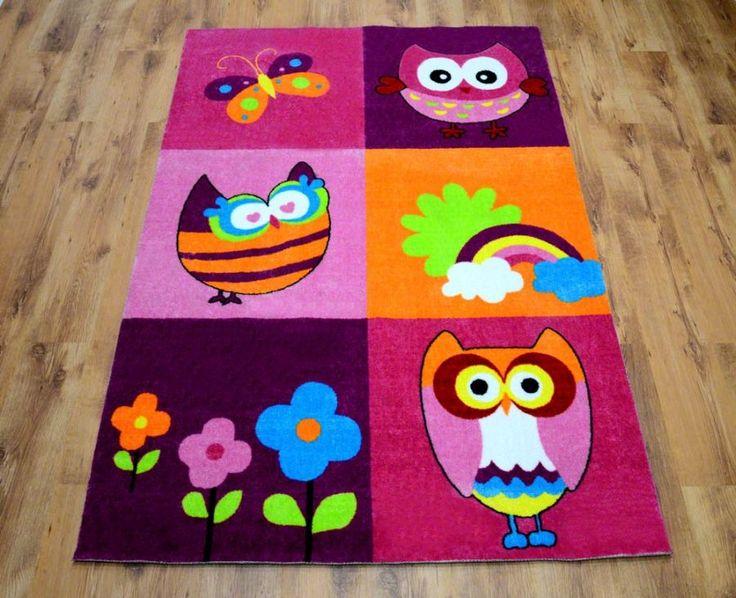 Kolorowe sowy dywany różowe dla dziewczynek