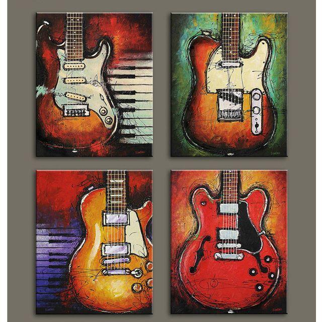 Moderna de la lona decorativos música naturaleza guitarra pintura al óleo en la lona para sala de estar decoración del hogar