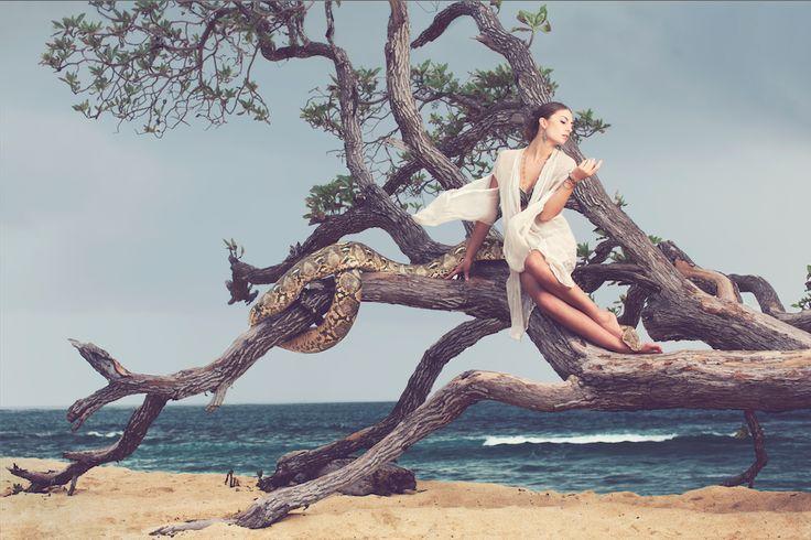 Bali Fashion - Long White Angel Cape: The Story Of; Necklace: Mama's Treasure; Earrings: Ramona's; Bracelets: Jewel Rocks