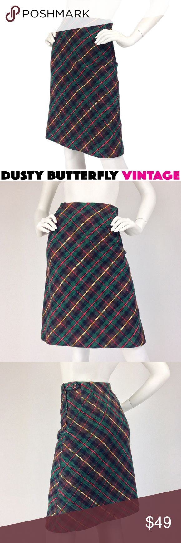 VINTAGE 60s 70s PLAID WOOL SKIRT Tartan Vtg 60s-70s plaid wool skirt in classic hunter green tartan, updated mod-style w a dynamic diagonal cut. Timeless yet cool piece!  •Tartan plaid in hunter green/blk/yellow/red/brown •Slim fit w slight A-line •High waist •Side button/zip •Feels/looks like wool, could be acrylic •Smooth backing on inside of fabric •Made in USA •Very good vtg condition  Vtg size 8. Best ffit: XS •Waist:24 •Hips: Free •Length:23  💗Suggested User 💗Top Rated Seller 💗Fast…